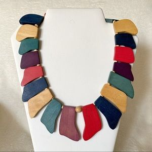 Vintage Funky Painted Wood Statement Necklace